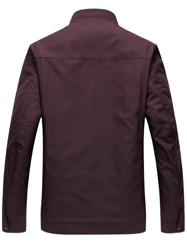 Zip Up Stand Collar Side Pocket Padded Jacket - CLARET 4XL