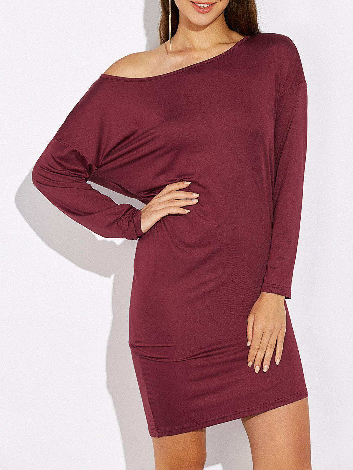 Skew Colllar Batwing Sleeve Dress alcatel 5015d pop 3 metallic siver