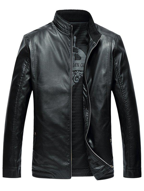 Side Pocket Zip Up PU Leather Padded Jacket - BLACK 8XL