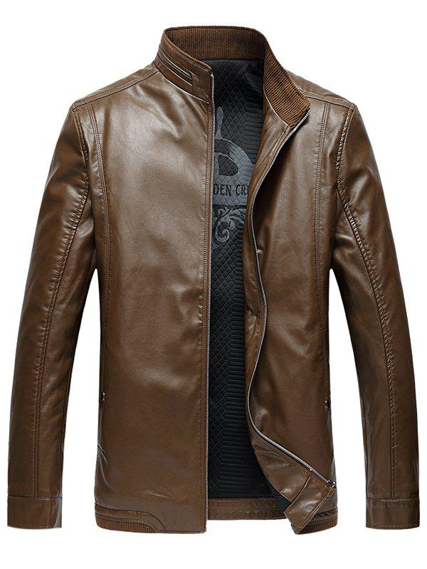 Side Pocket Zip Up PU Leather Padded Jacket - EARTHY 7XL