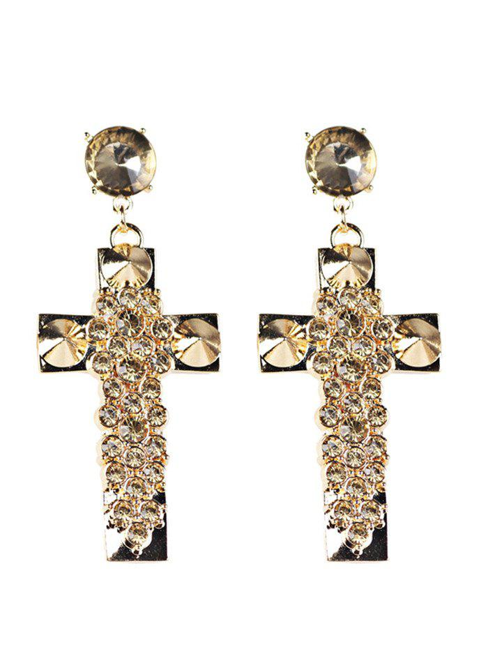 Vintage Rhinestoned Crucifix Boucles d'oreilles - Or
