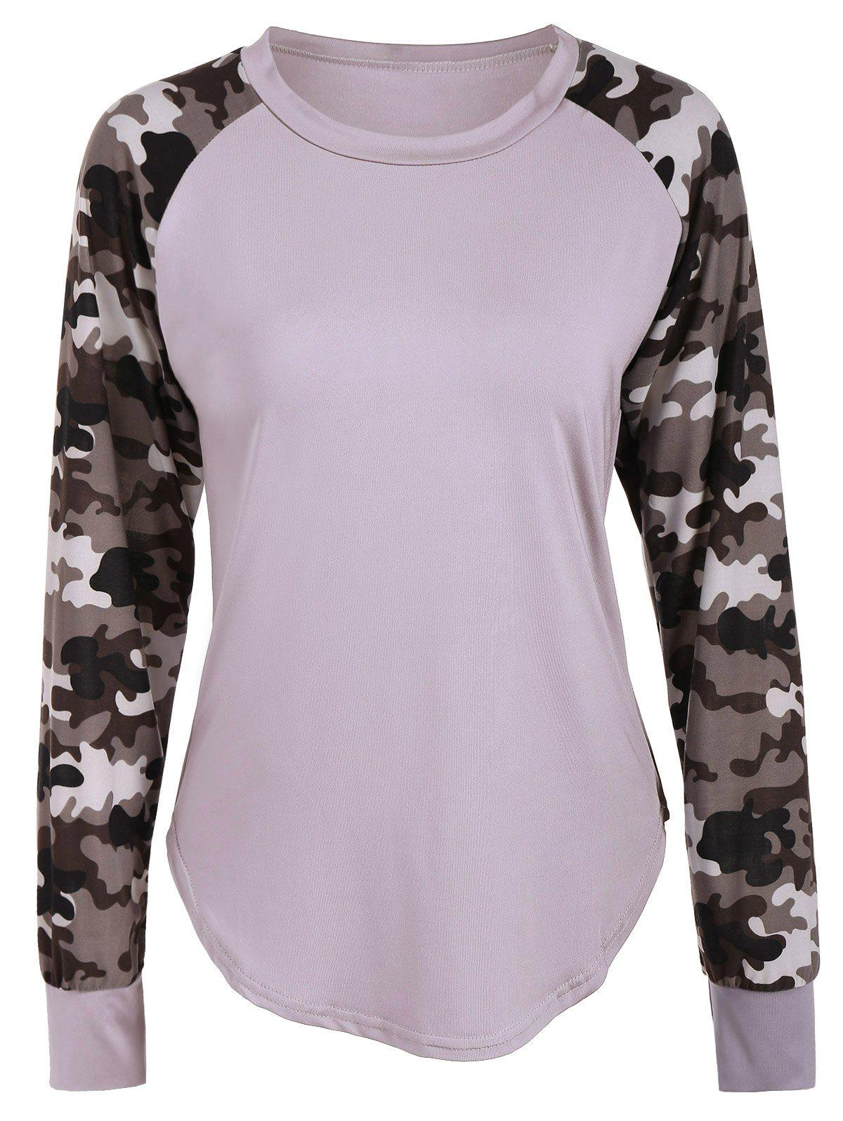 Raglan Sleeve Camouflage Panel T-Shirt raglan sleeve camouflage panel t shirt