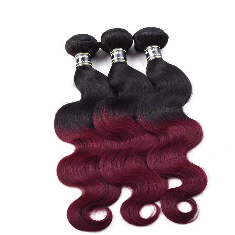1 Pcs Ombre Color Body Wave 6A Virgin Brazilian Hair Weave - COLORMIX 10INCH