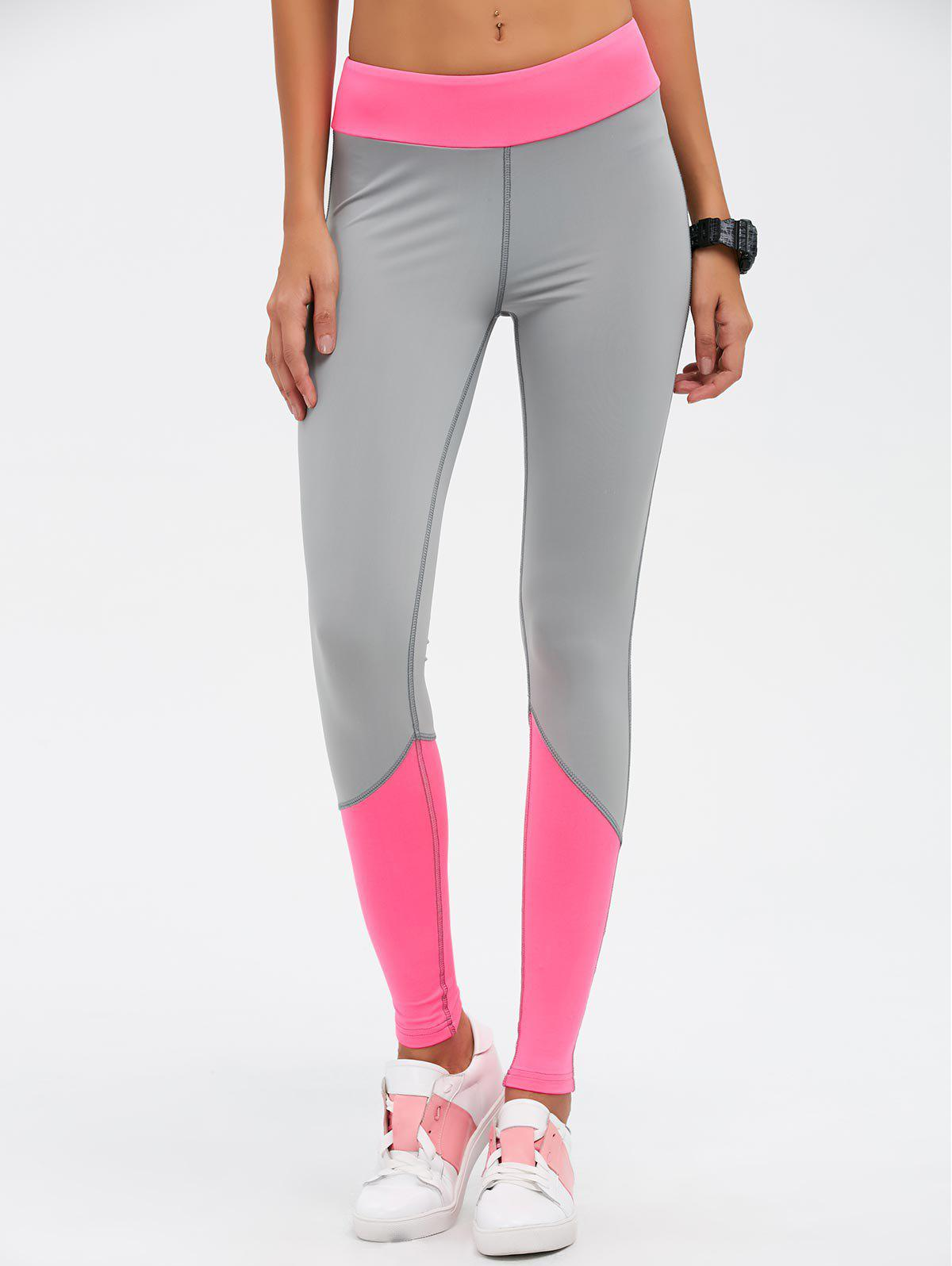 Taille haute Color Block Skinny Sport Leggings - rose M