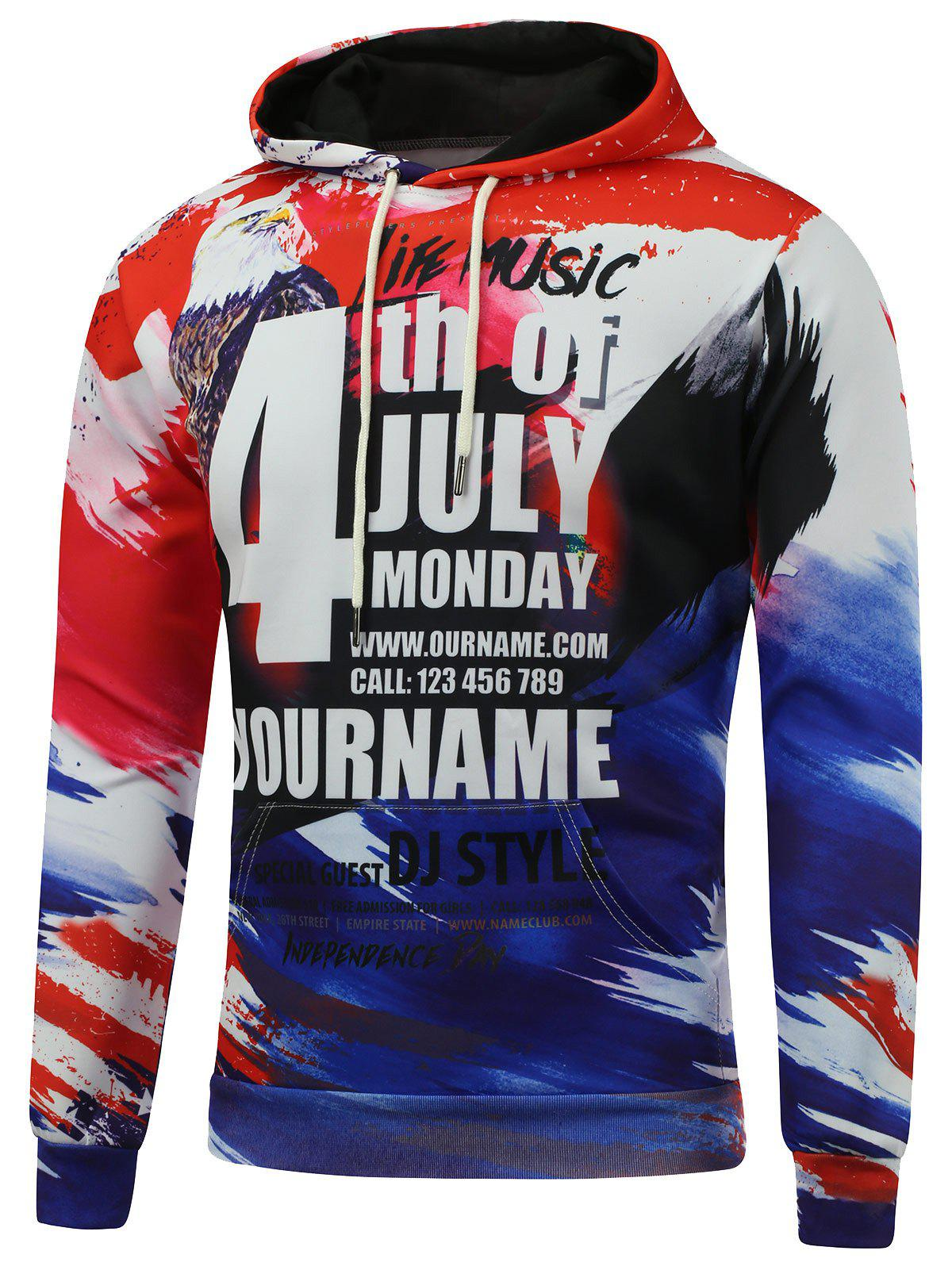 4th of July Eagle Printed Pullover Hoodie