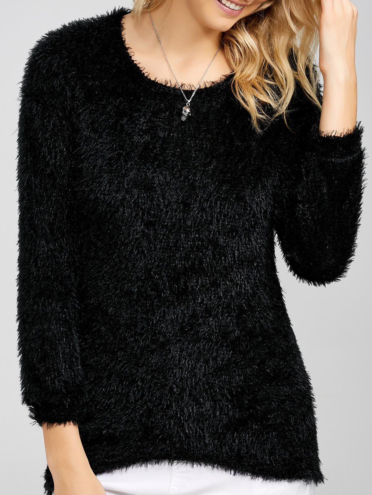 Drop Shoulder Long Fuzzy Sweater - BLACK XL