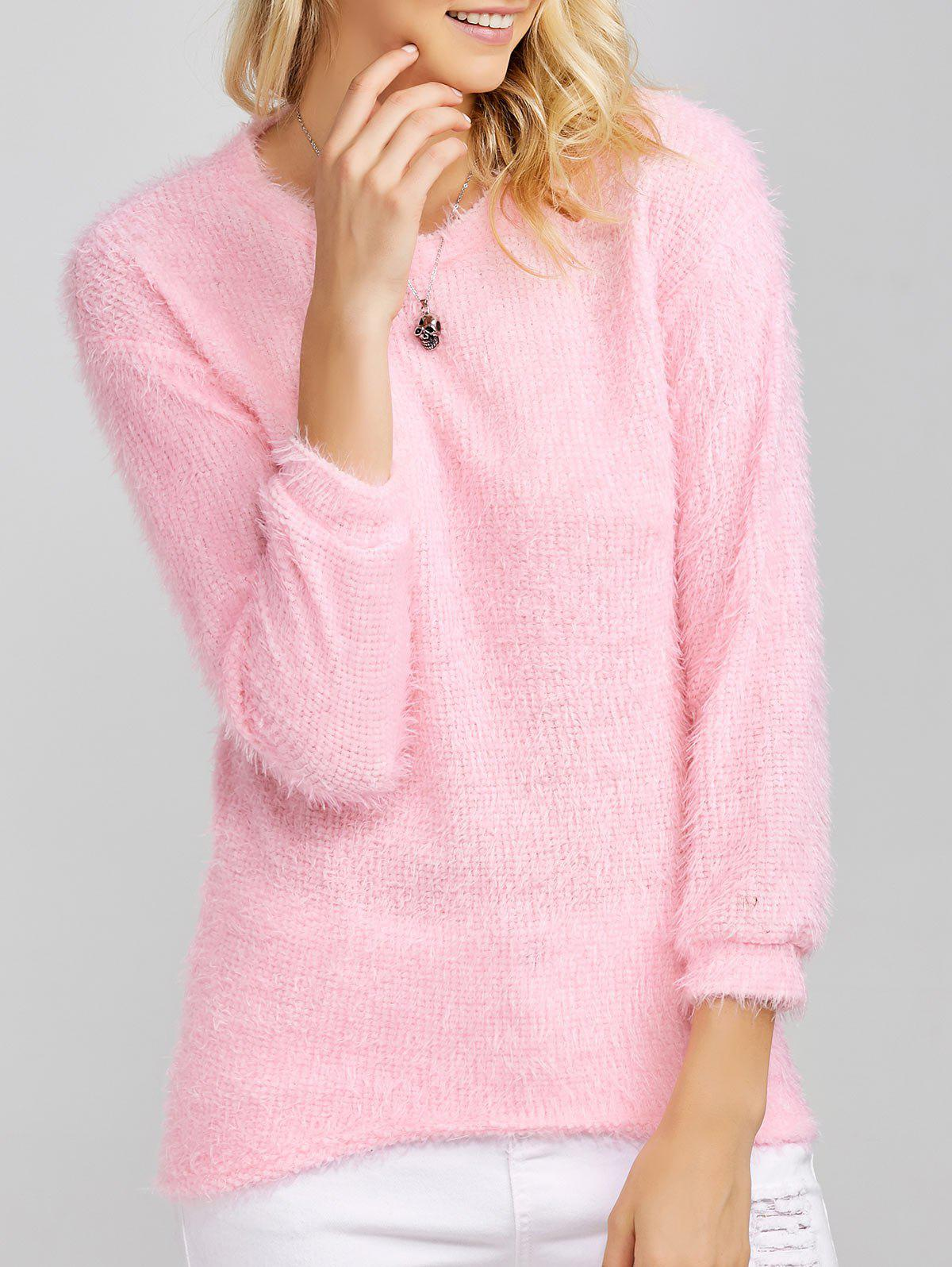 Drop Shoulder Long Fuzzy Sweater - PINK S