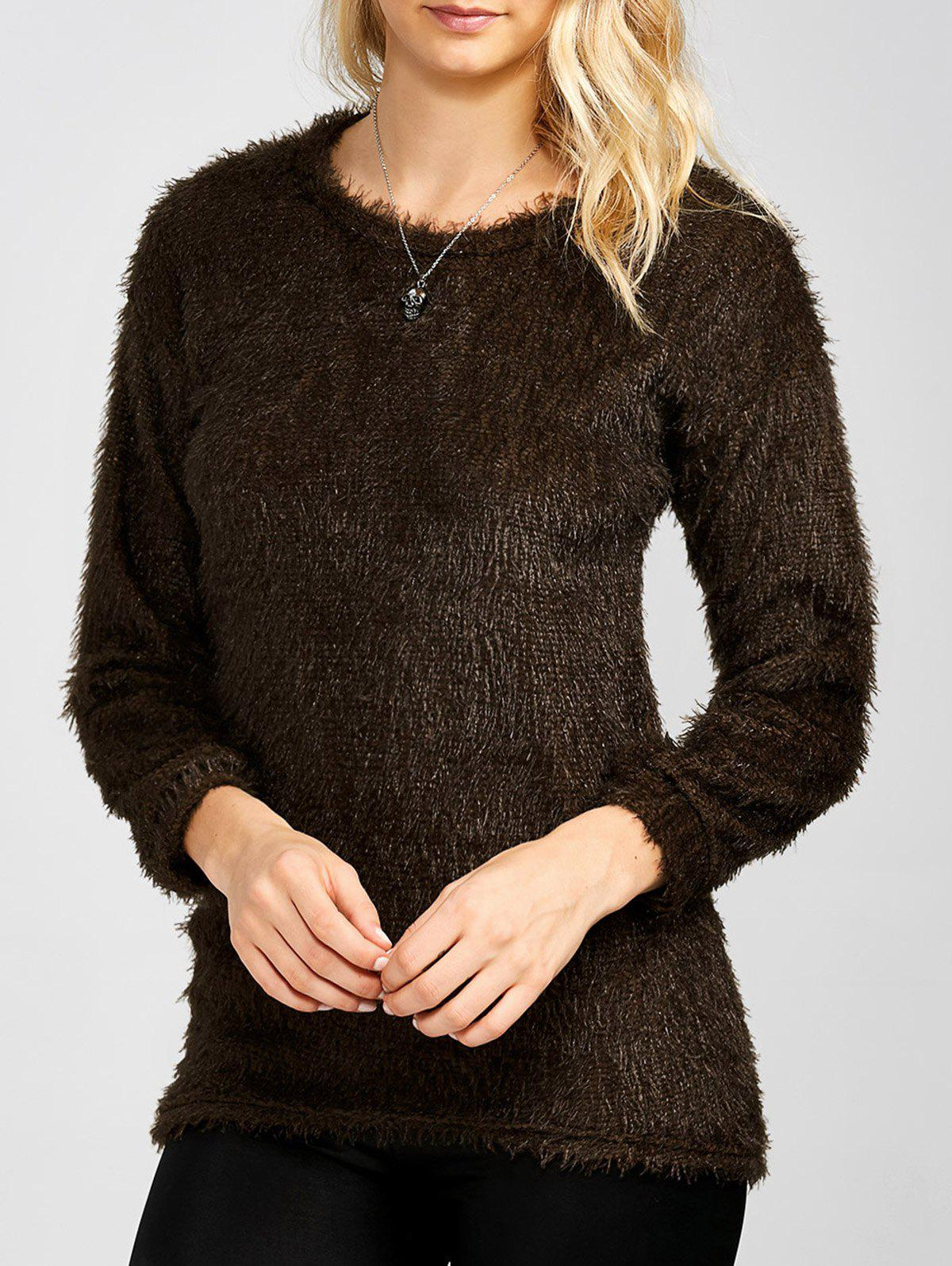 Drop Shoulder Long Fuzzy Sweater - COFFEE M