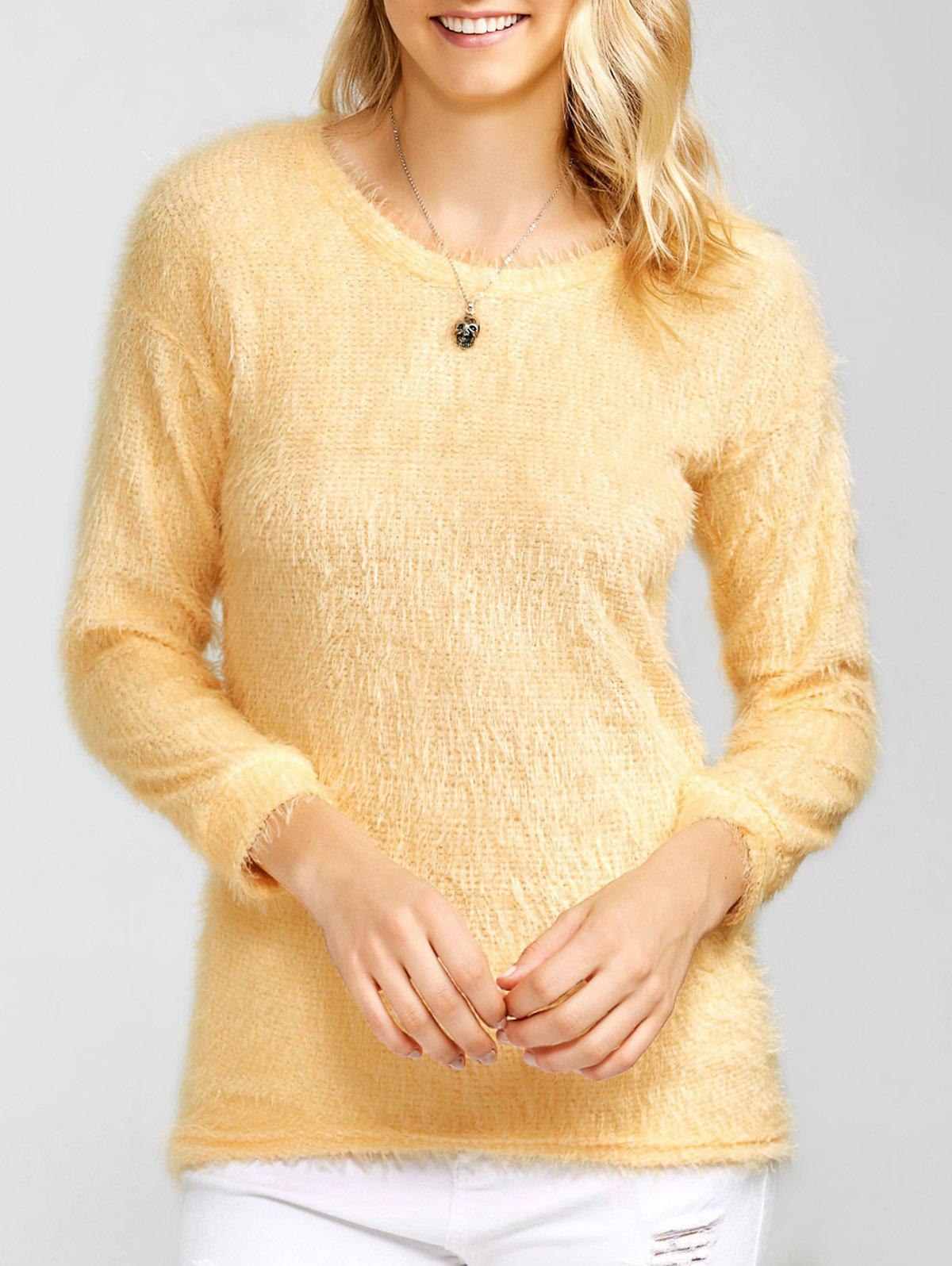 Drop Shoulder Long Fuzzy Sweater - APRICOT S