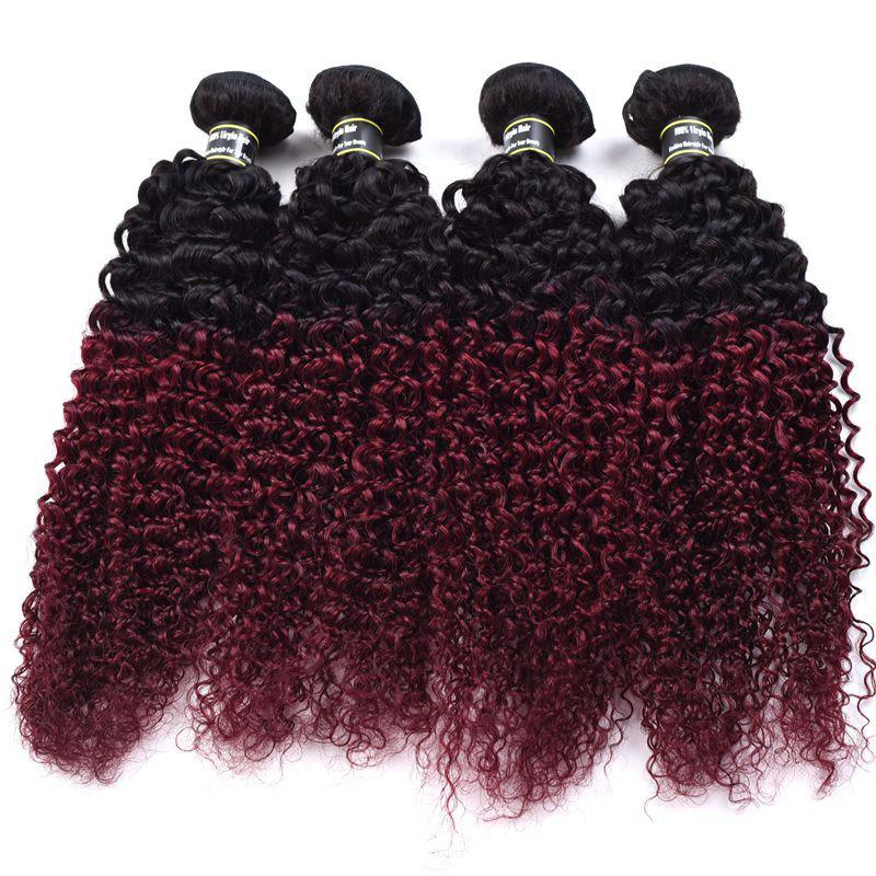 1 Pcs Ombre Color Kinky Curly 6A Virgin Brazilian Hair Weave - COLORMIX 20INCH