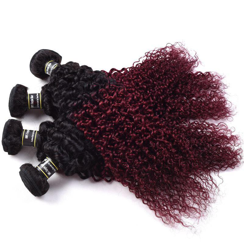 1 Pcs Ombre Couleur Kinky Curly 6A Virgin Brazilian Hair Weave - multicolorcolore 26INCH