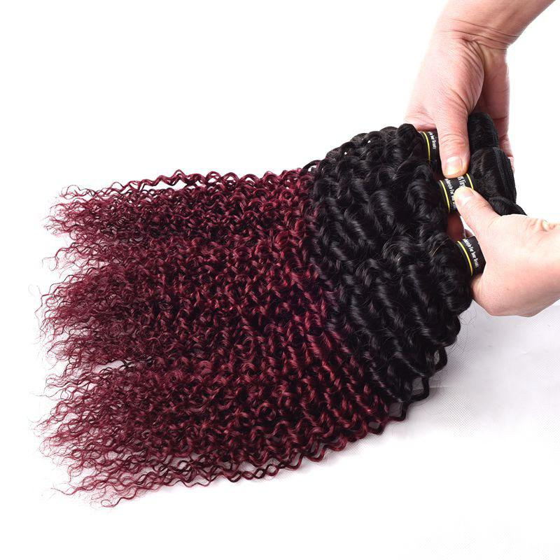 1 Pcs Ombre Color Kinky Curly 6A Virgin Brazilian Hair Weave - COLORMIX 26INCH