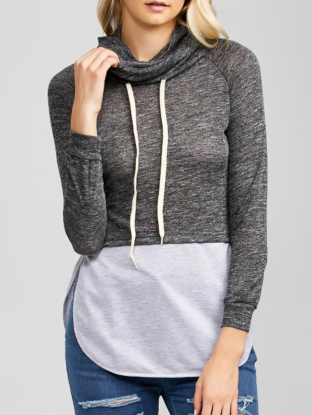 Heather cordes Spliced ​​Hoodie - gris foncé S
