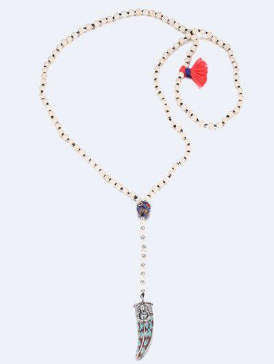 Bohemia Beaded Ox Horn Sweater Chain - WHITE