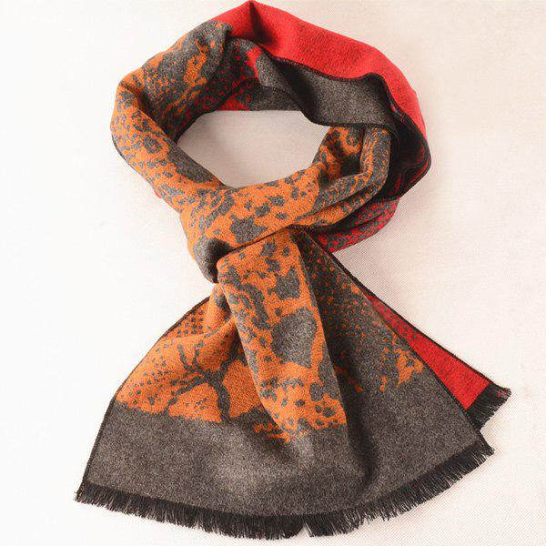 Outdoor Abstract Pattern Warm Scarf - GRAY