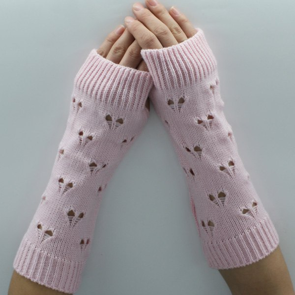 Heart Hollow Out Knitted Arm Warmers - PINK
