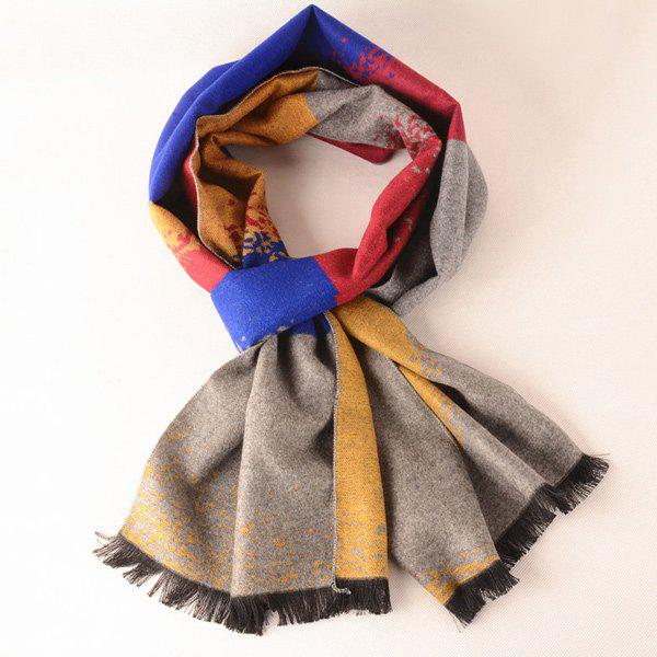 Winter Gradient Color Fringe Scarf - GRAY