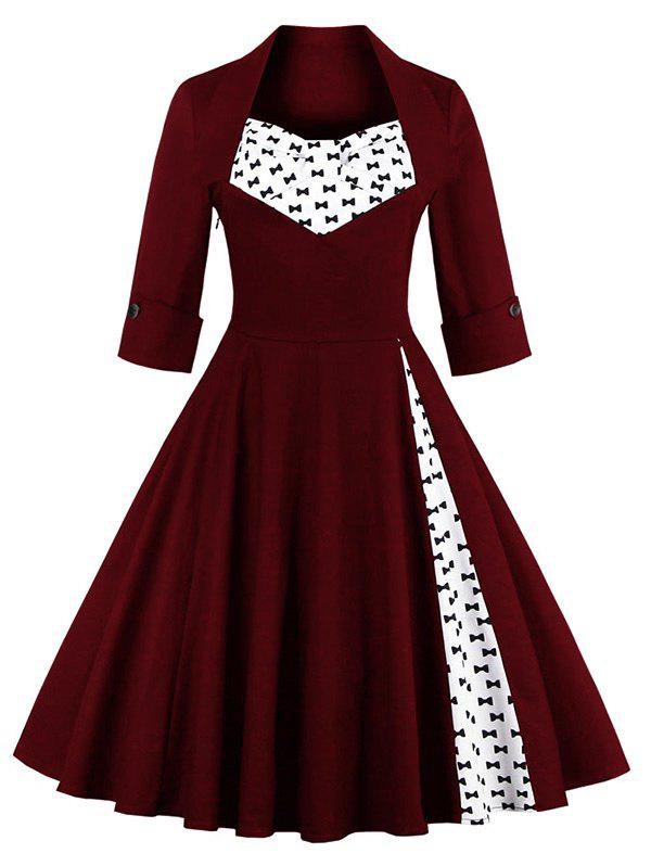 Bowknot Swing Dress - WINE RED 2XL