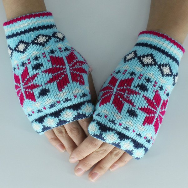 Snow Christmas Knitted Fingerless Gloves - CLOUDY