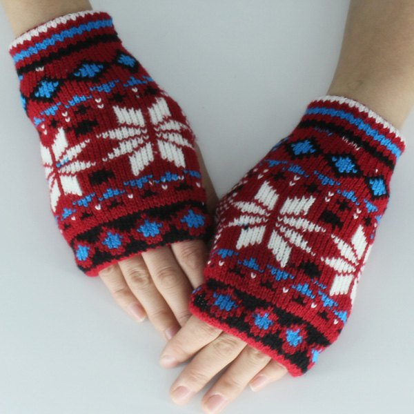 Snow Christmas Knitted Fingerless Gloves - RED