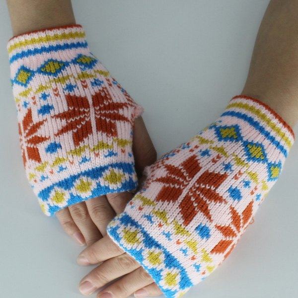 цены Snow Christmas Knitted Fingerless Gloves