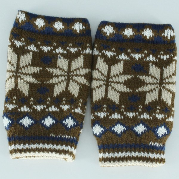 Snow Christmas Knitted Fingerless Gloves - KHAKI