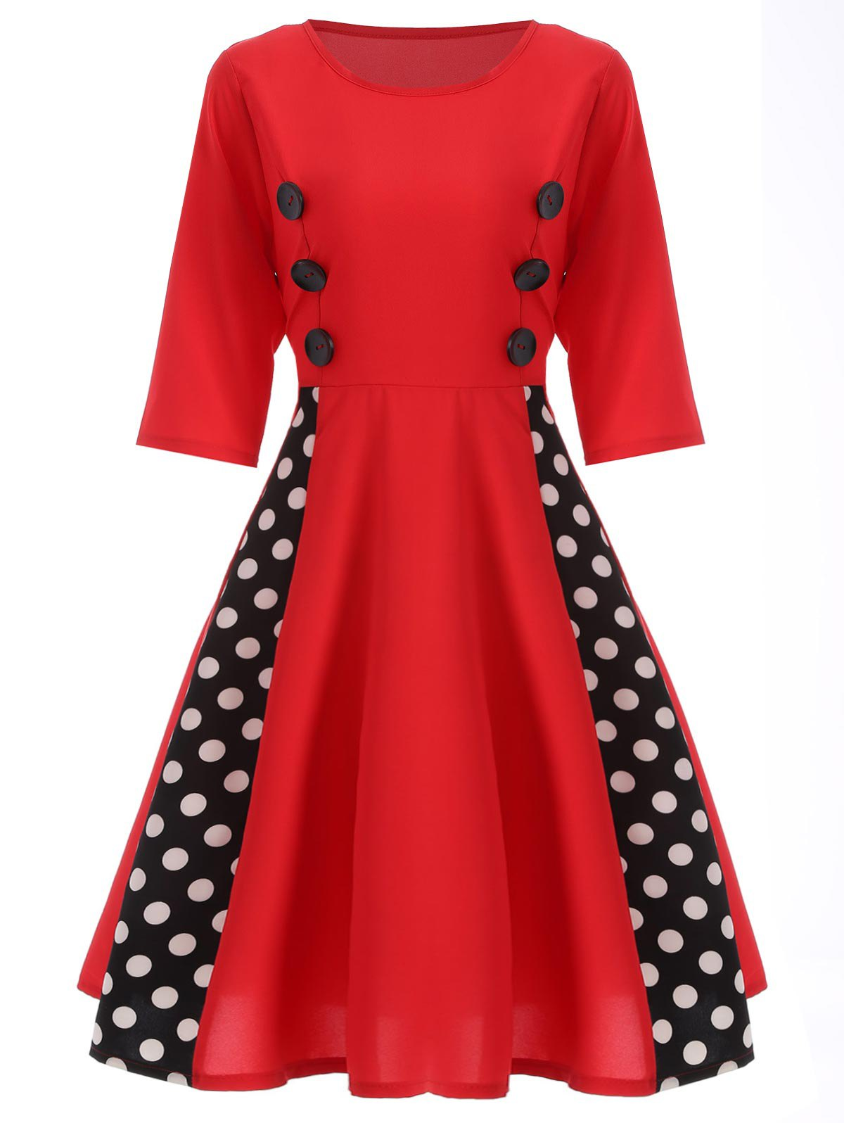 Polka Dot Insert Swing Dress - RED M