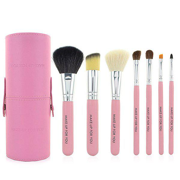 7 Pcs Goat Hair Facial Makeup Brushes Set with Brush Holder 22pcs pink makeup brushes set professional maquiagem tool cosmetic make up fan brush tools set with leather makeup bag case