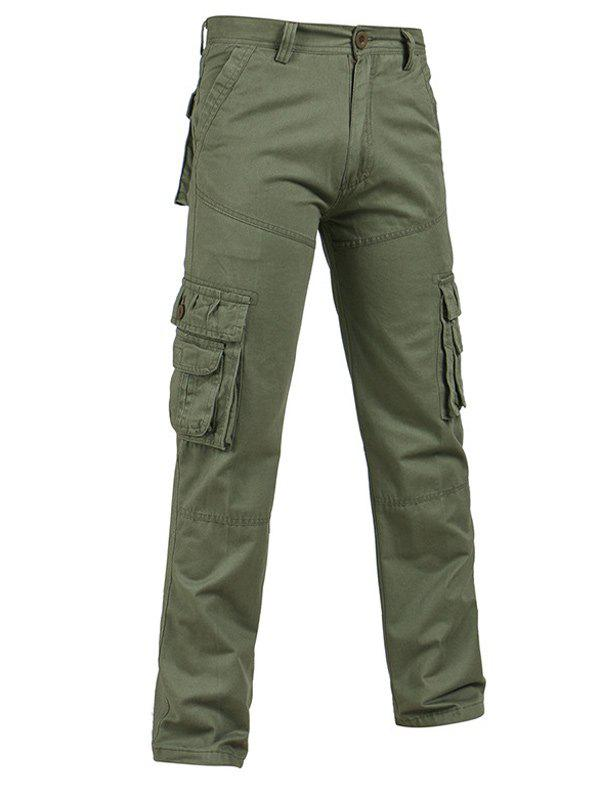 Pockets Design Straight Leg Plus Size Cargo PantsMen<br><br><br>Size: 40<br>Color: ARMY GREEN