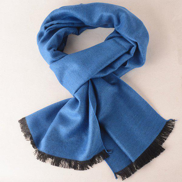 Stylish Outdoor Fringe Scarf - ROYAL BLUE