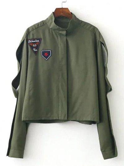 Slim Patch Spliced Short JacketWomen<br><br><br>Size: L<br>Color: ARMY GREEN