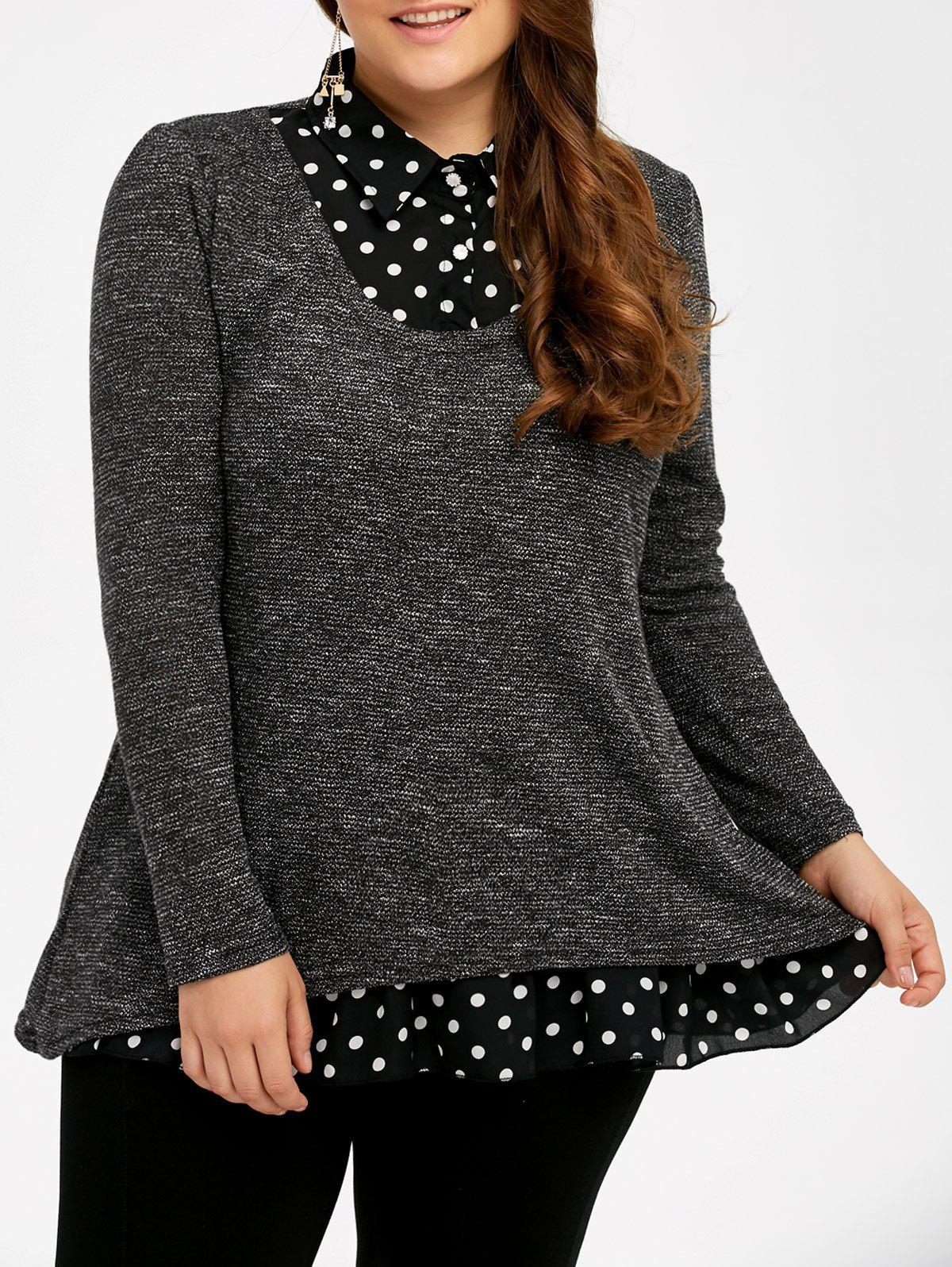Plus Size Polka Dot Insert Sweater - GRAY XL