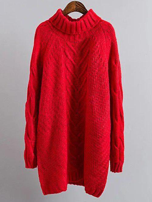 Turtleneck Mini Cable Knit Shift Sweater Dress - RED ONE SIZE