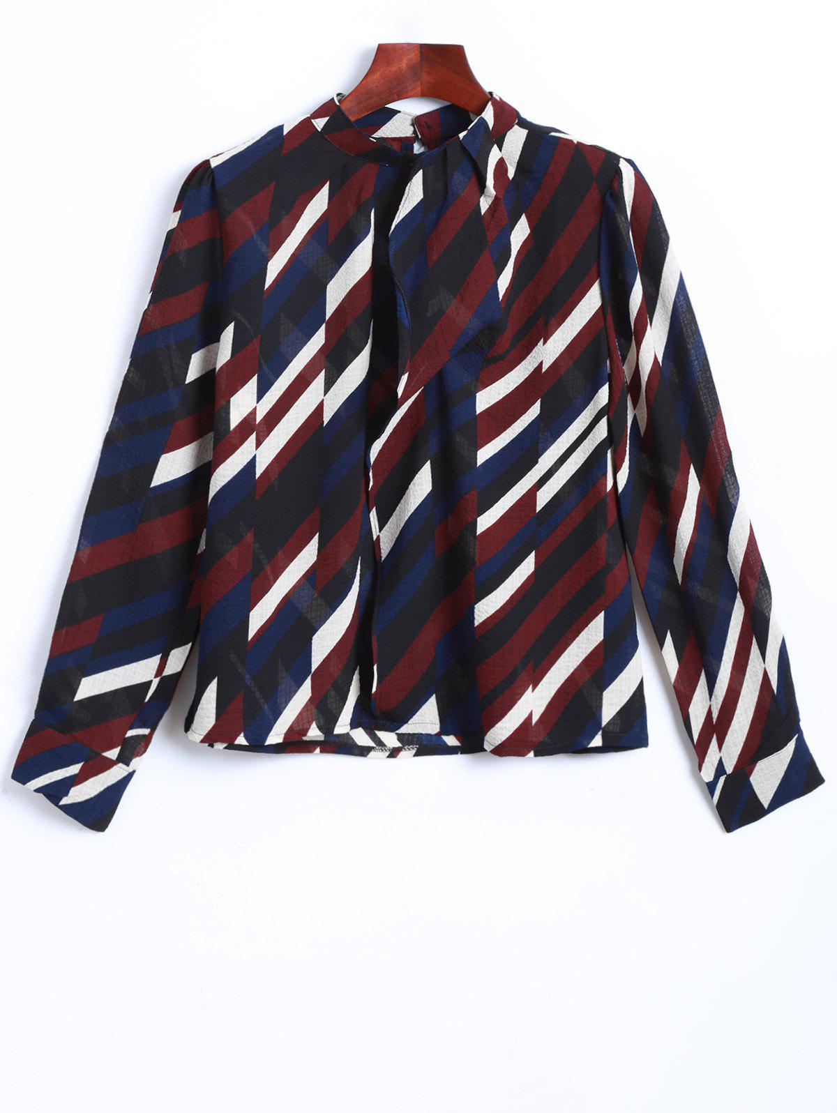 Stand Collar Multicolor Striped Blouse - DARK RED ONE SIZE