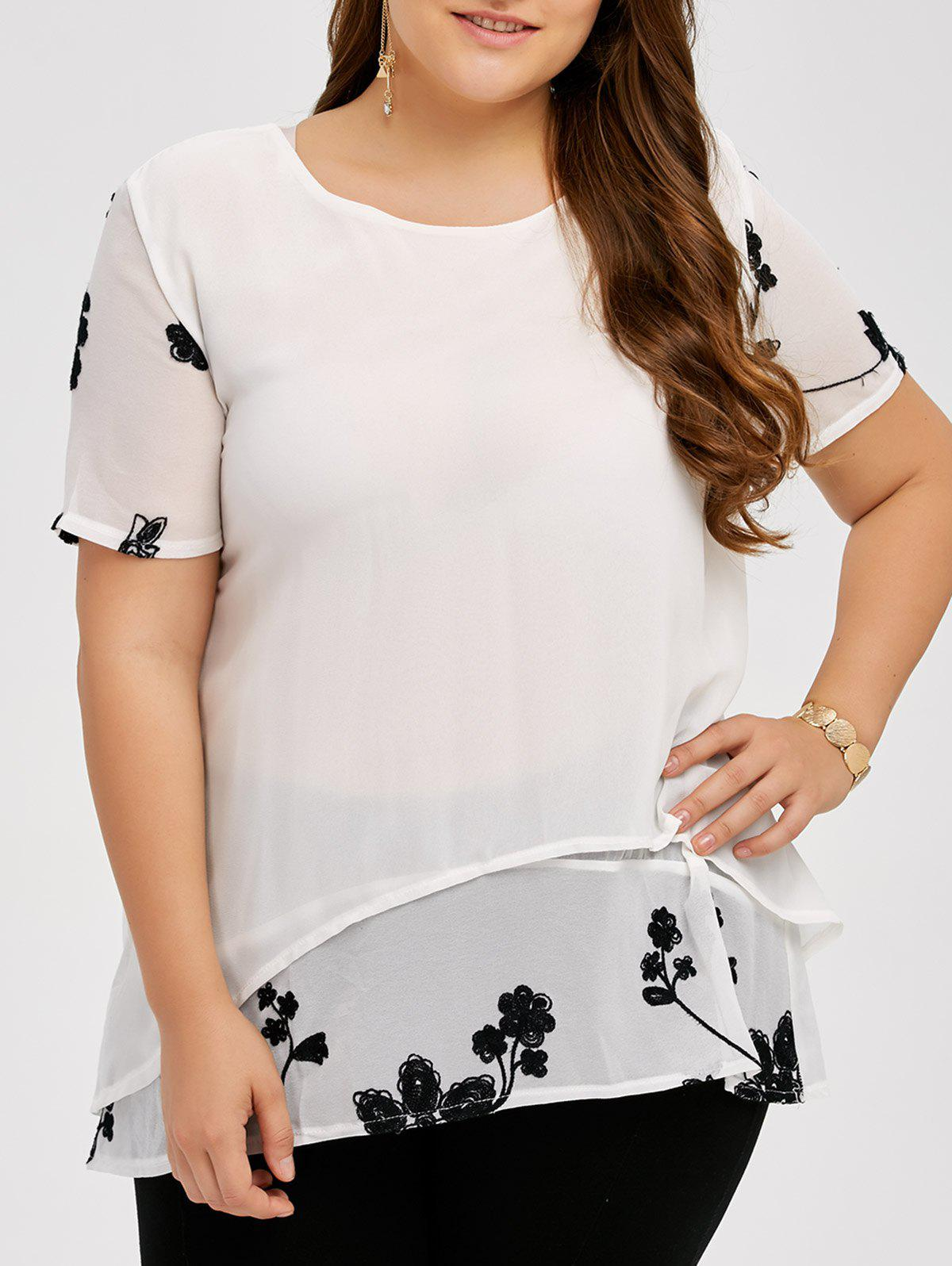 Embroidery Chiffon Plus Size Blouse - WHITE 3XL