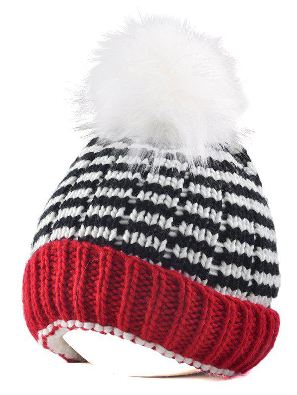 Yarn Knitted Stripe Pompom Ball Beanie Hat high quality real fur ball pompom winter hat for women wool hat knitted cotton beanies cap brand new thick female hat