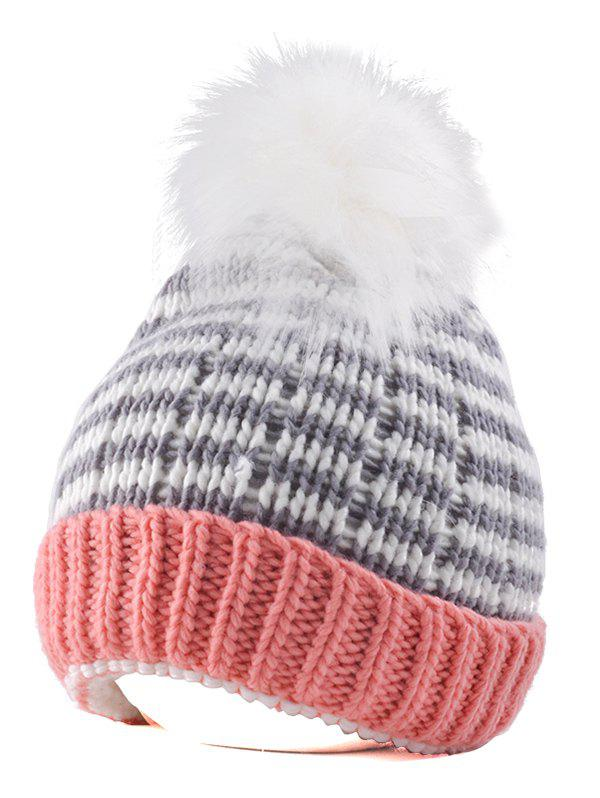 Yarn Knitted Stripe Pompom Ball Beanie Hat [aetrends] 2017 winter rabbit fur beanie hats for women warm knitted female caps beanies pompom with top ball z 5986