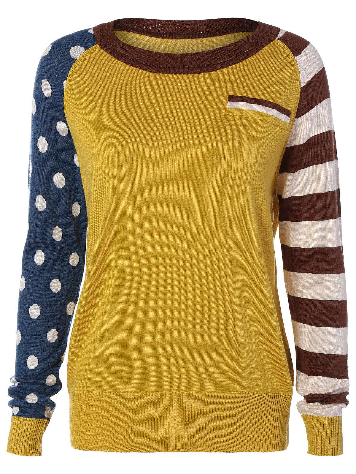 2018 Polka Dot and Striped Sleeve Sweater YELLOW ONE SIZE In ...