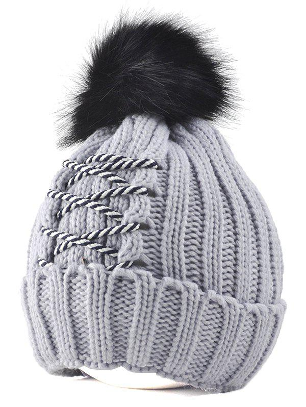 Winter Knitted Crossing Rope Pompom Skullies Beanie  1pcs hip hop winter unisex warm knitted cap beanies snap slouch skullies bonnet beanie hat gorro high quality free shipping