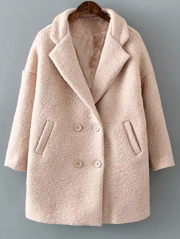 Long Double Breasted Woollen Coat - PINK S