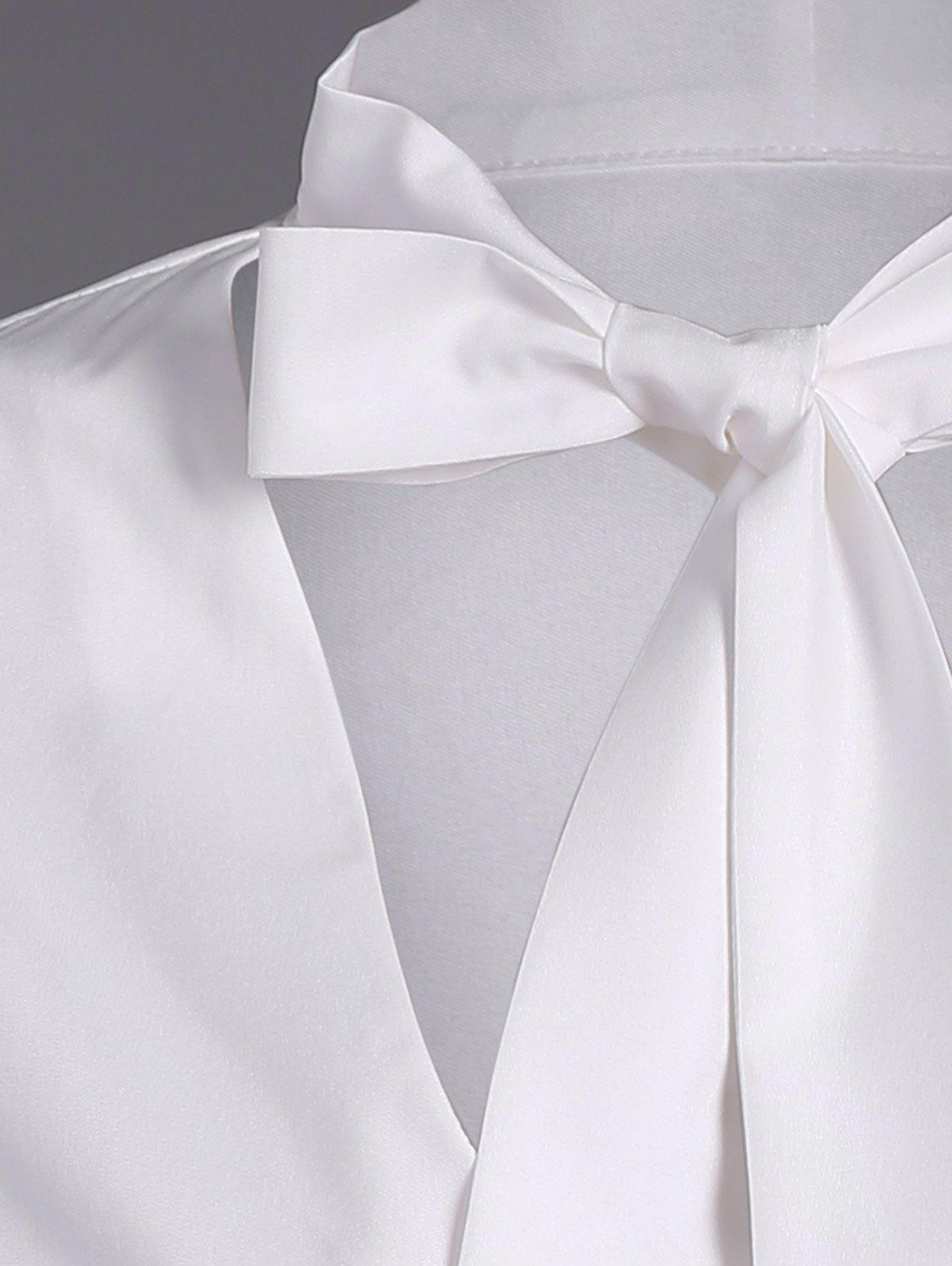 Pussy Bow manches longues Blouse - Blanc S