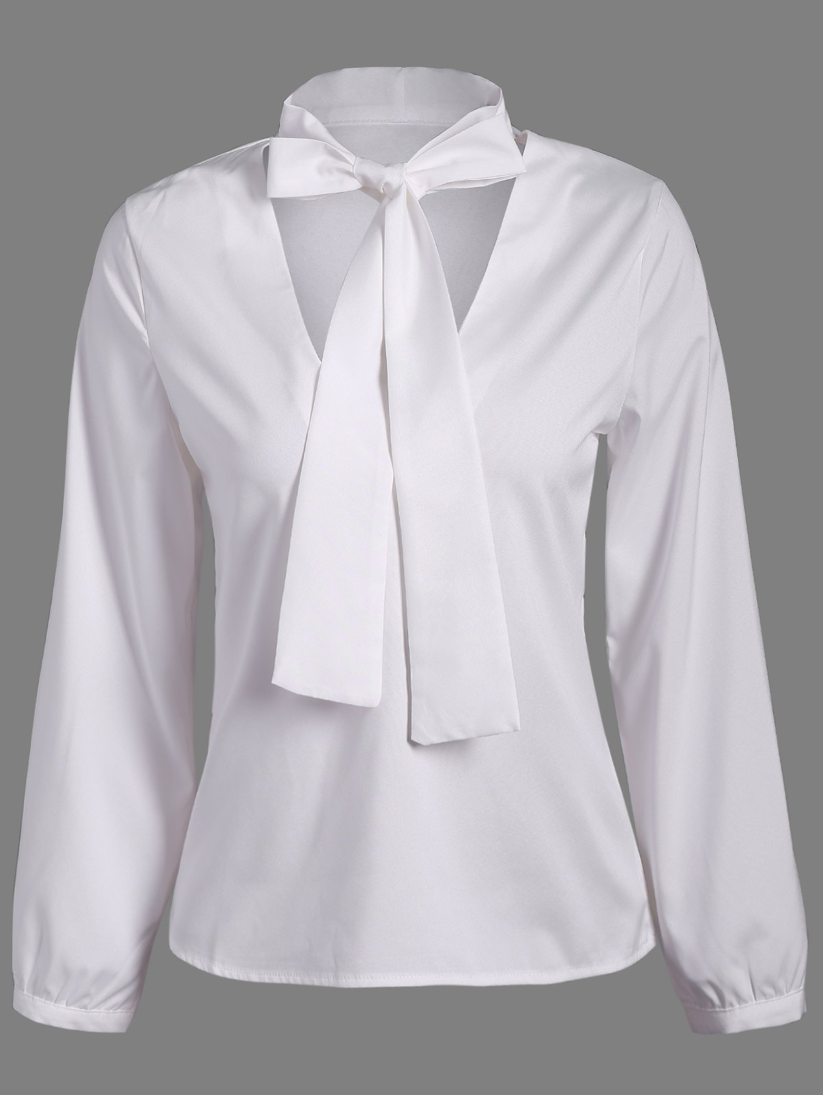 Pussy Bow Long Sleeves Blouse - WHITE S
