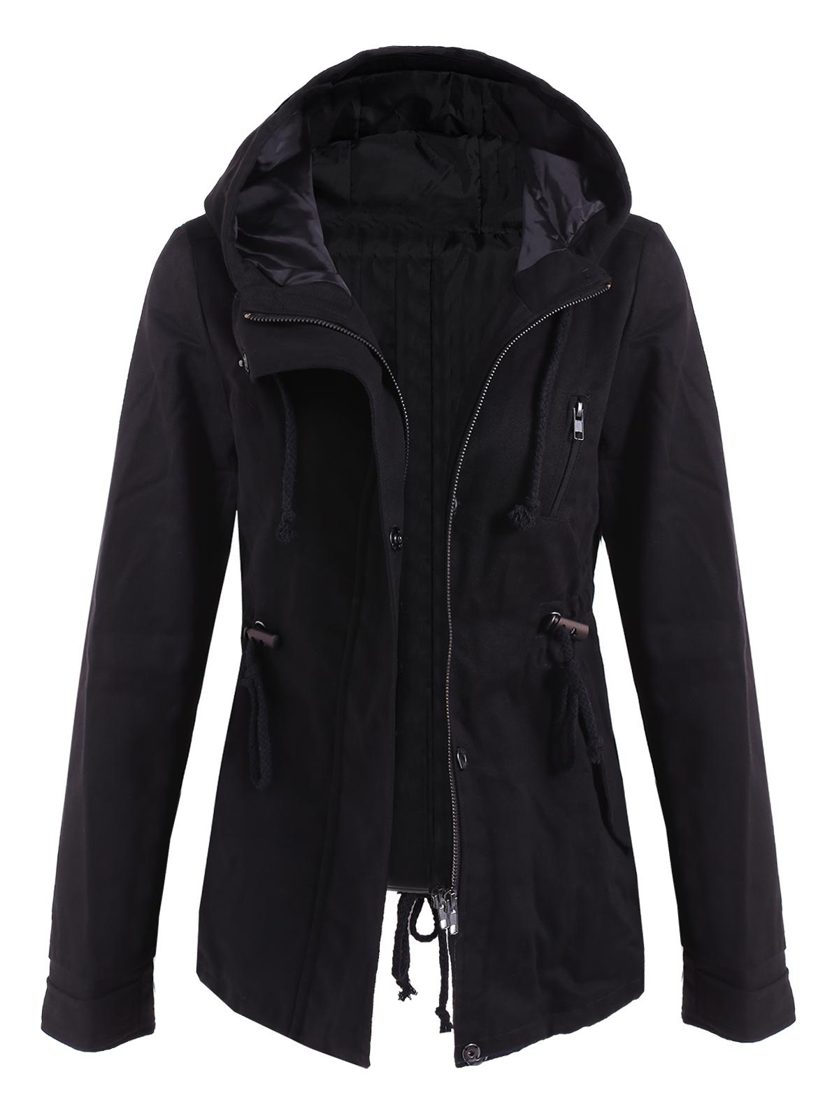 Drawstring Cargo Jacket with Hood - BLACK L