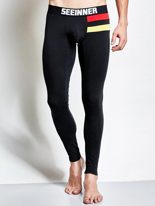 Contrast Paneled Skinny Thermal Long Johns - BLACK L