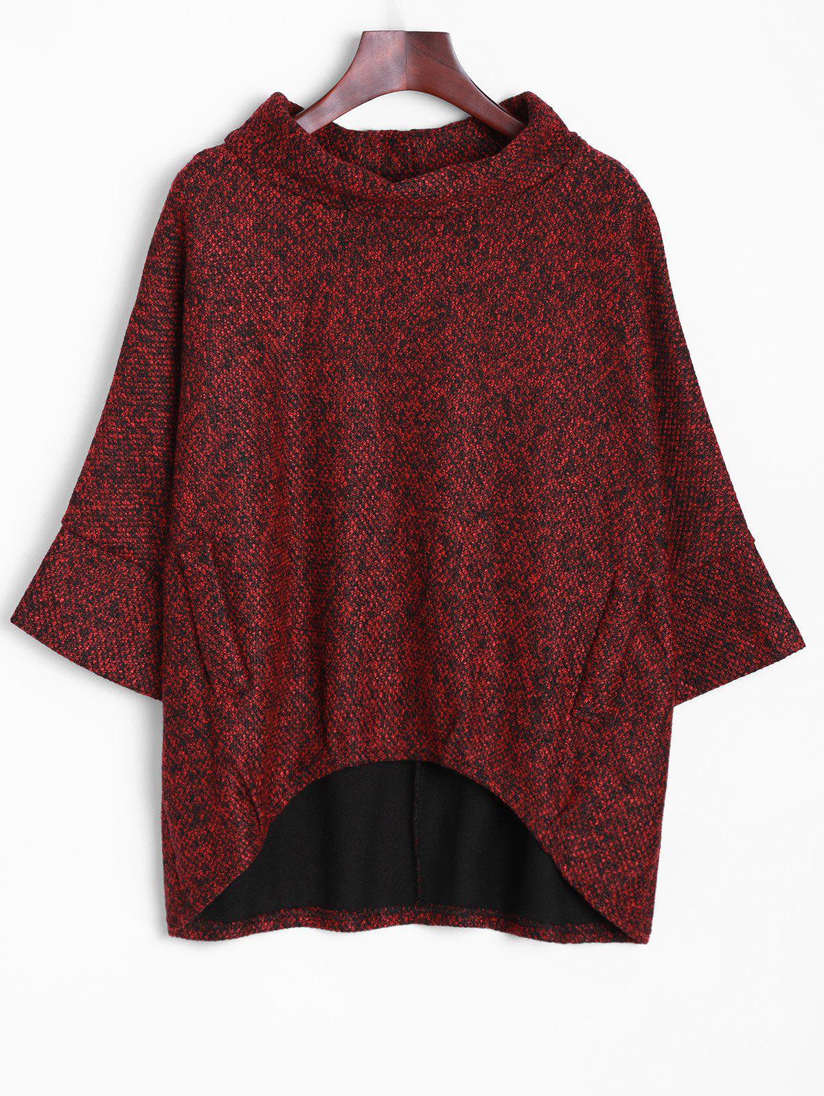 Dolman Sleeve Irregular Blouse - DARK RED ONE SIZE