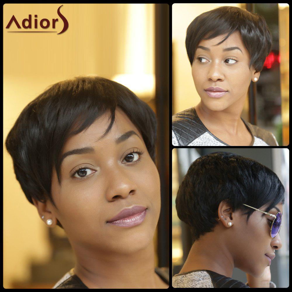 Inclined Bang Adiors Synthetic Shaggy Short Layered Wigs - BLACK
