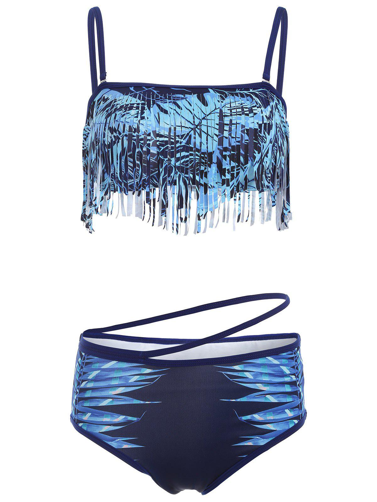 Spaghetti Strap Fringed Leaves Print Bikini Set - PURPLISH BLUE M