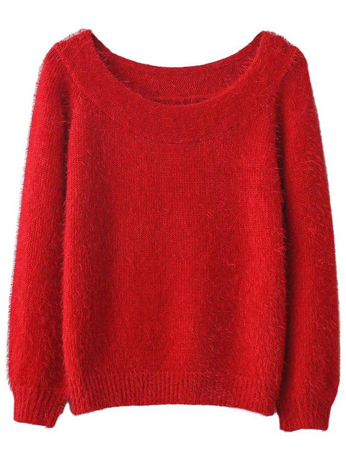 Off Shoulder Fluff Sweater - RED ONE SIZE