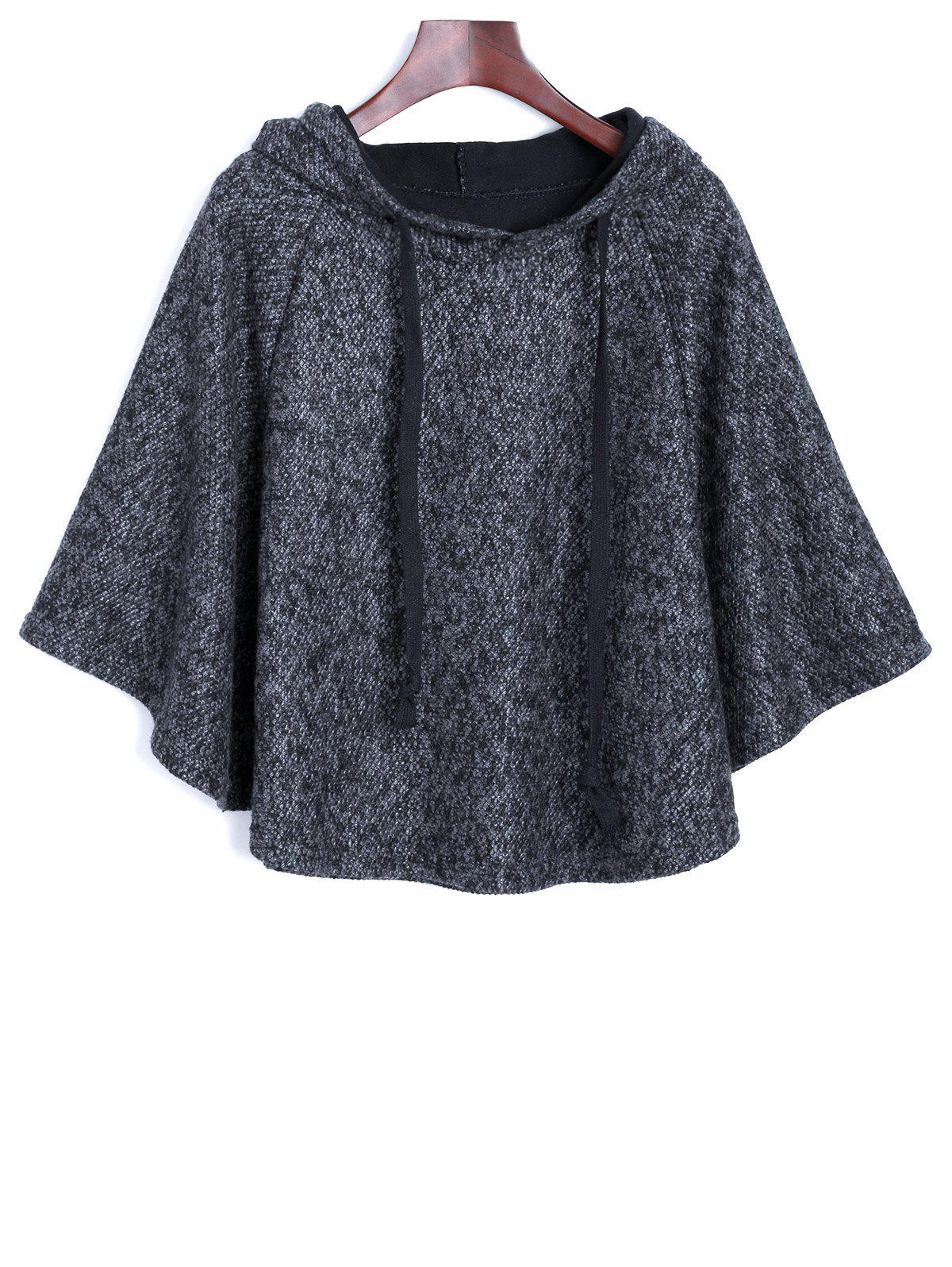 Heather Hooded Cape Poncho - [
