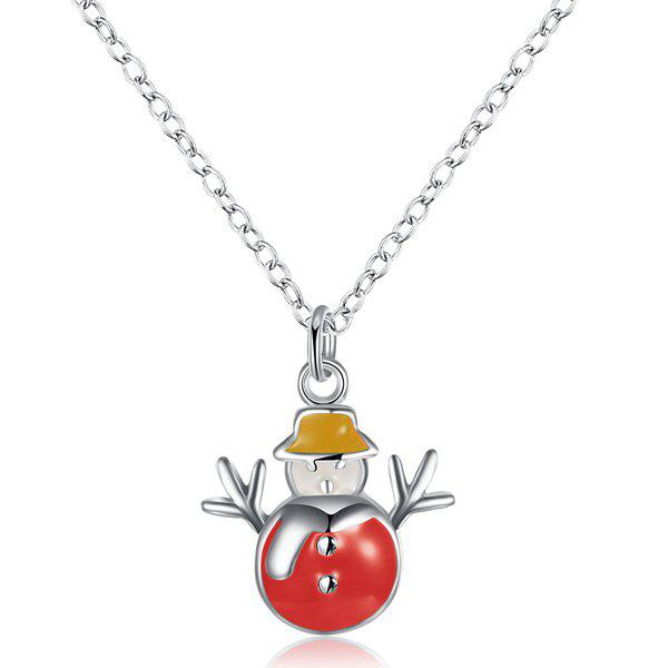 Christmas Snowman Enamel Pendant NecklaceJewelry<br><br><br>Color: RED